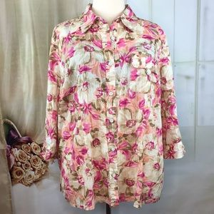 Karen Scott Floral Button Up Blouse